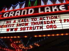 Grand Lake Theater Marquee with 911 A Call to Action, www.911truth.org
