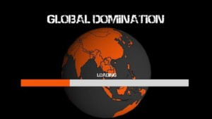 Global domination loads over an image of planet Earth