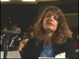 Screen shot from Mindy Kleinberg testifying before the 9/11 Commission