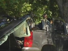 Photo of Louis Freeh's wrecked vehicle