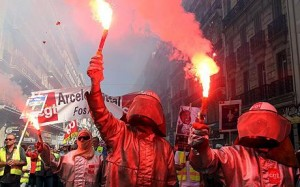 Photo of May Day rioting and demonstration in Marseille. Workers of ArcelorMittal hold Bengal fires during the annual May Day demonstration in Marseille, France, 01 May 2009.
