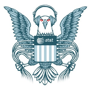 Logo of nsa eagle with ATT crest from eff-ATT spies for US government