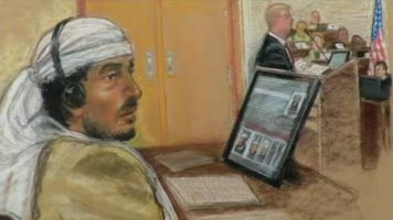 Artist's rendering of Defendant Salim Hamdan attends his trial inside the war crimes courthouse at Camp Justice