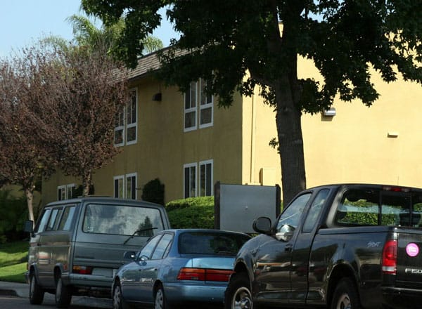 View of Parkwood Apartments from street