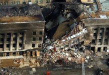 Aerial view of the damage to the Pentagon occurring on 9/11