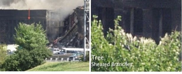 Sheared Tree Branches visible in Pentagon surveillance videos