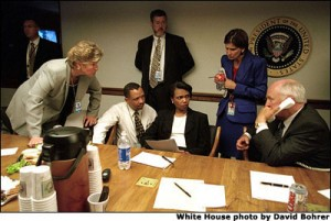Photo of Cheney, Rice, Matlan, etc. in White House PEOC