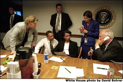 Photo of Cheney, Rice, Matalan, etc. in White House Presidential Emergency Operations Center (PEOC)