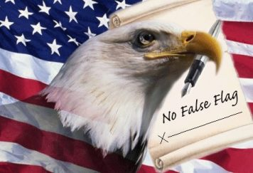 An eagle superimposed over an American Flag with a decalration, no false flag