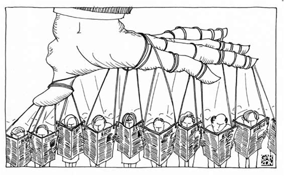 Cartoon of Political manipulation of the American people