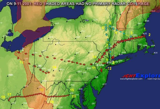 Map showing radar gaps on 9-11