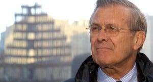 Image of Rumsfeld superimposed on WTC wreckage