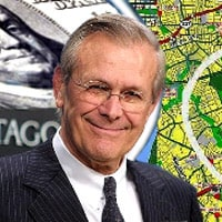 Defense Secretary Donald Rumsfeld smirks in front of backdrop of the path of Flight 77 heading to the Pentagon
