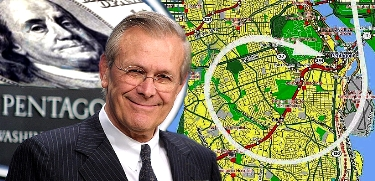 Rumsfeld superimposed over a map of Washington DC marked with the path of Flight 77.