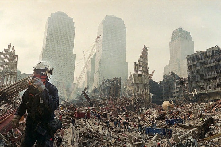 Photo of Ground Zero worker with respirator