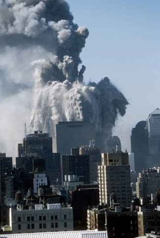 The North Tower building explosion and violent disintegration into dust