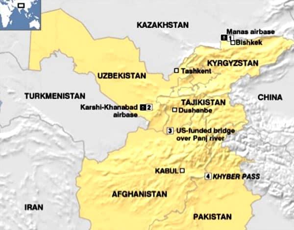 Map showing US bases including Karshi-Khanabad