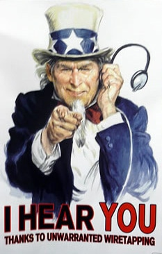 Poster of Uncle Sam's unwarranted wiretaps
