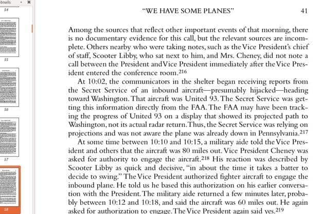 "Image of page from 9/11 Commission Report chapter titled, ""We have some planes"""